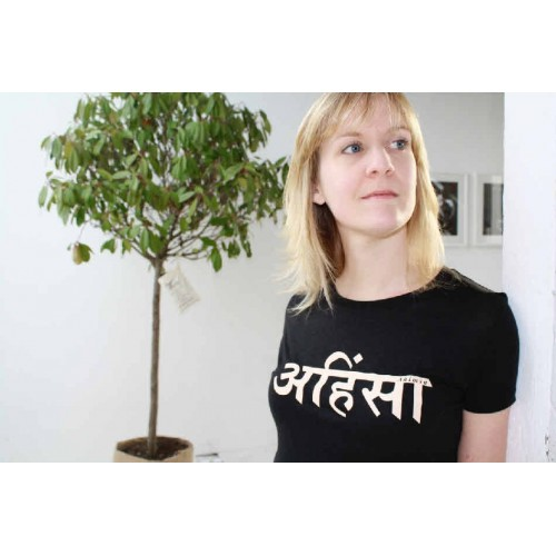 Womens Ahimsa T-shirt - black  £23
